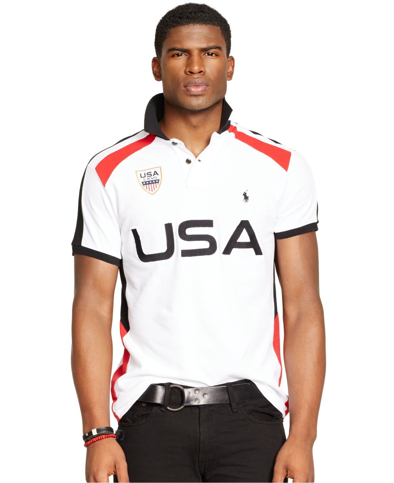 Lyst Polo Ralph Lauren Custom Fit Snow Polo Usa Mesh Shirt In