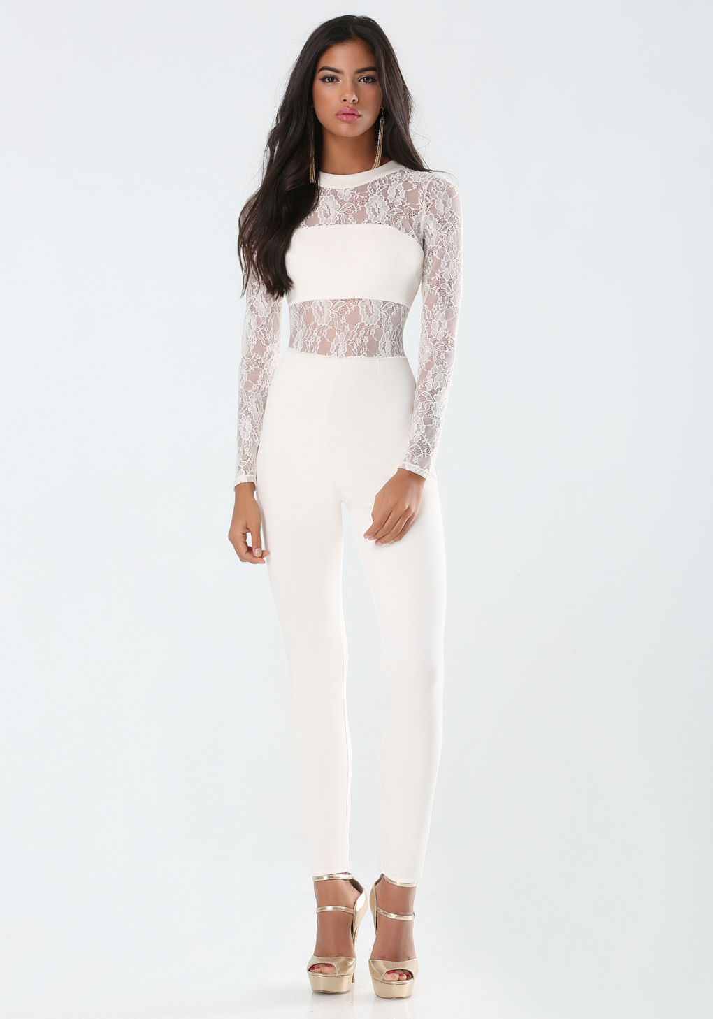 White Jumpsuit With Lace | Fashion Ql