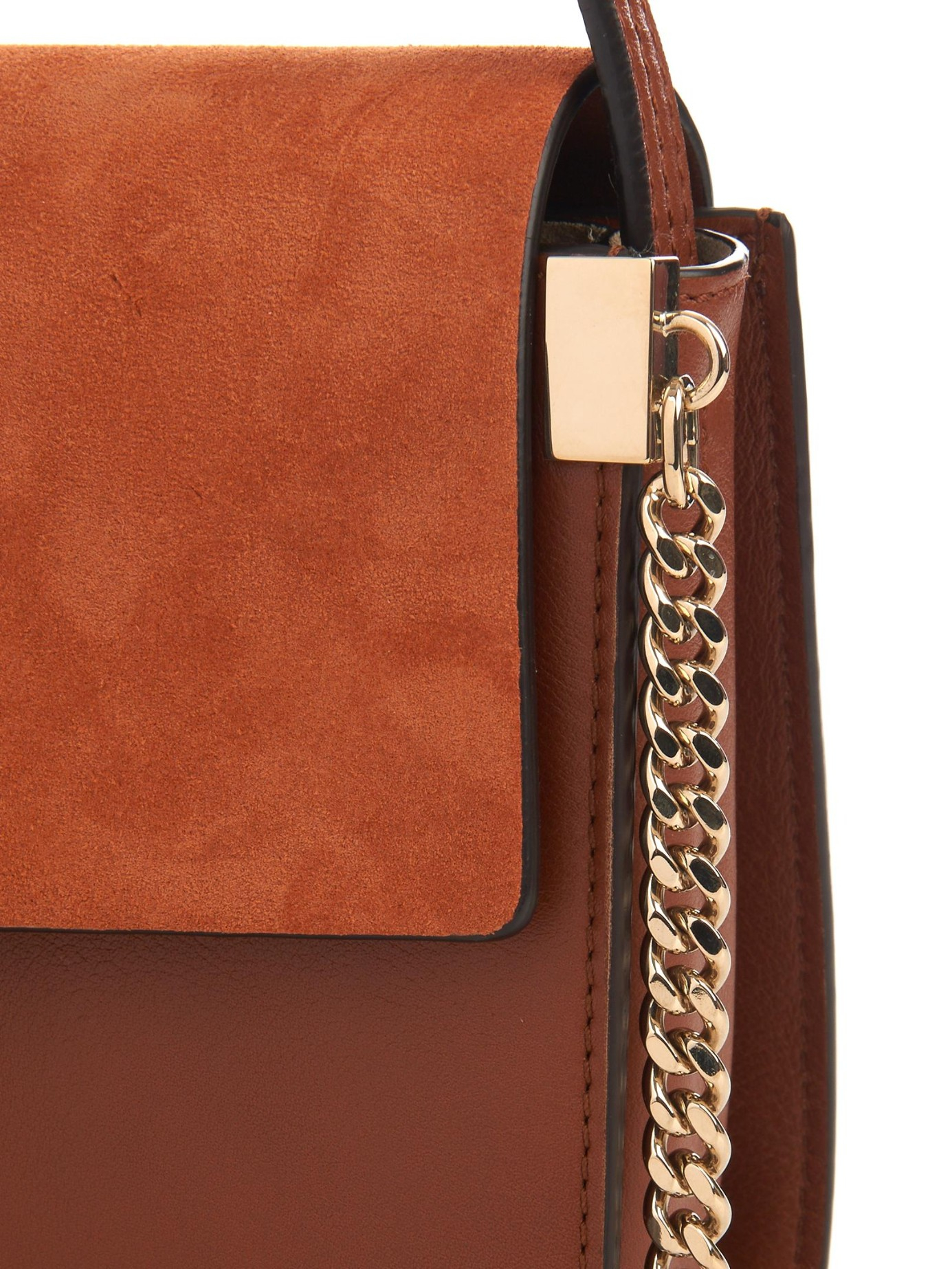 Chlo¨¦ Faye Small Suede And Leather Cross-Body Bag in Brown (DARK ...