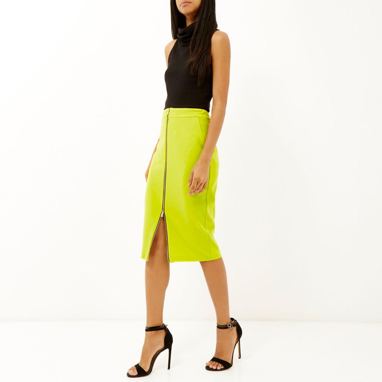 Lime Green Pencil Skirt - Skirts