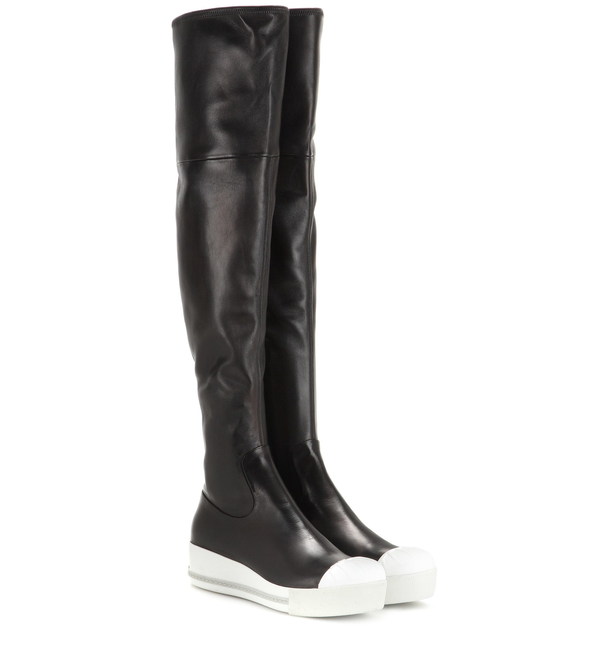 b29dc2f9fa6 Miu Miu Leather Over-The-Knee Boots in Black - Lyst