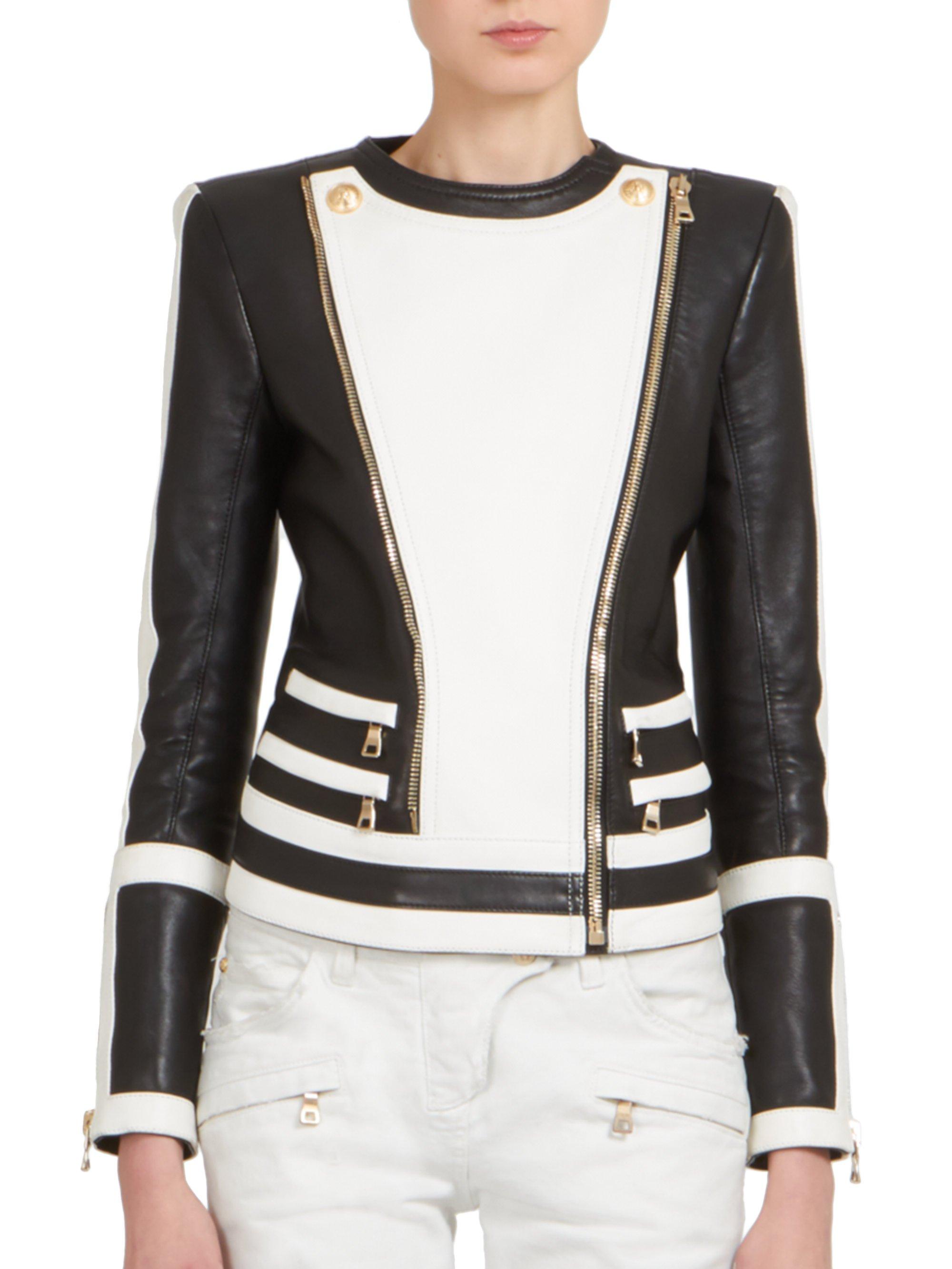 Lyst Balmain Bicolor Leather Moto Jacket In Black