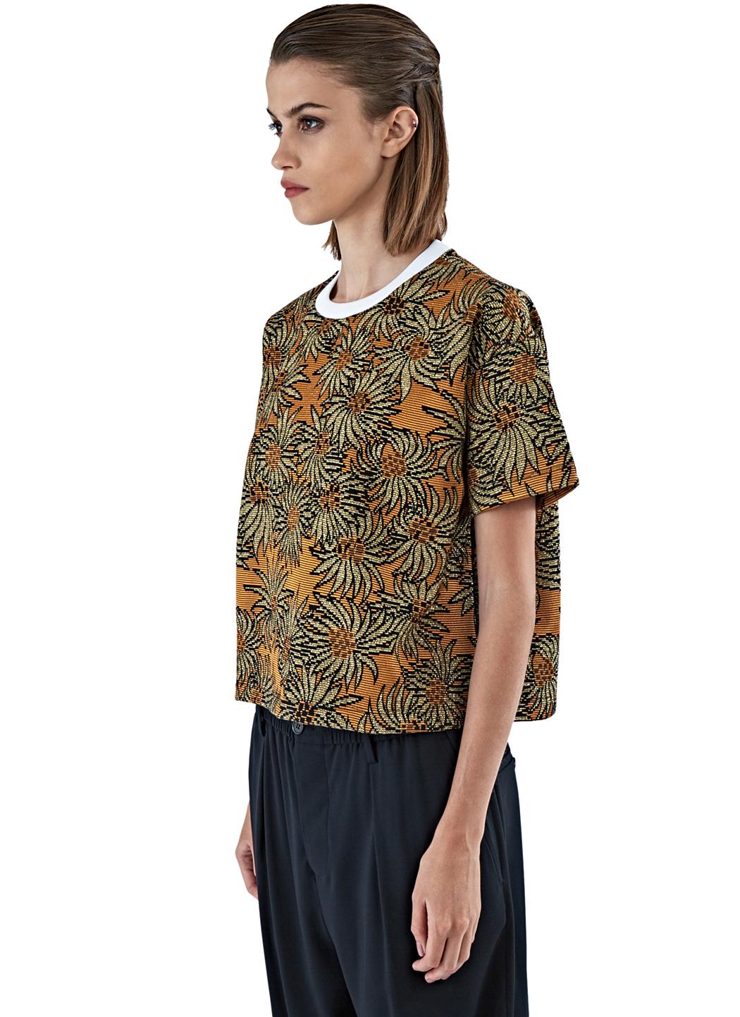 Marni Women's Boxy Lamé Jacquard T-shirt In Gold in ...