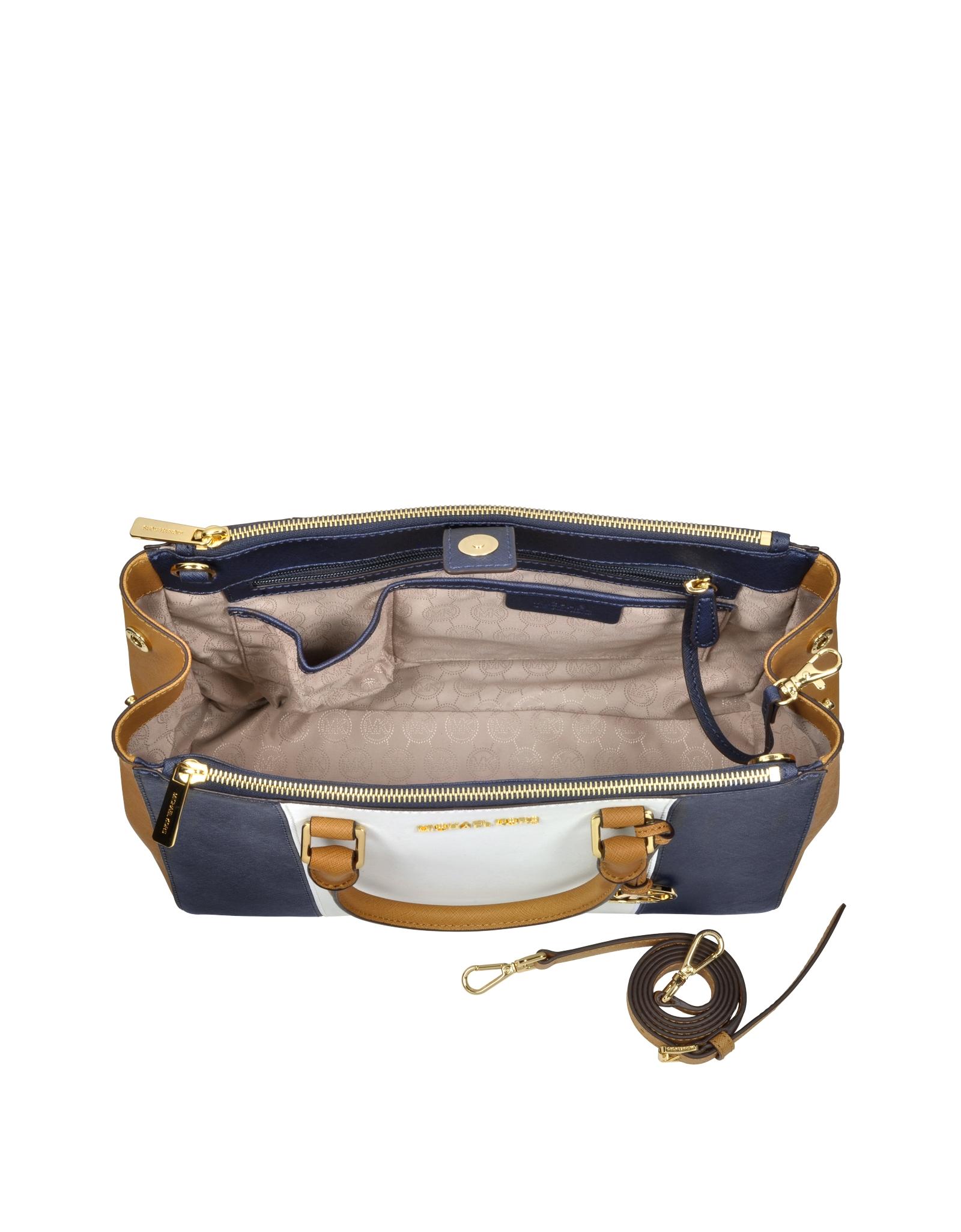 c5df518892fc02 Michael Kors Sutton Large Color-Block Leather Satchel in Brown - Lyst