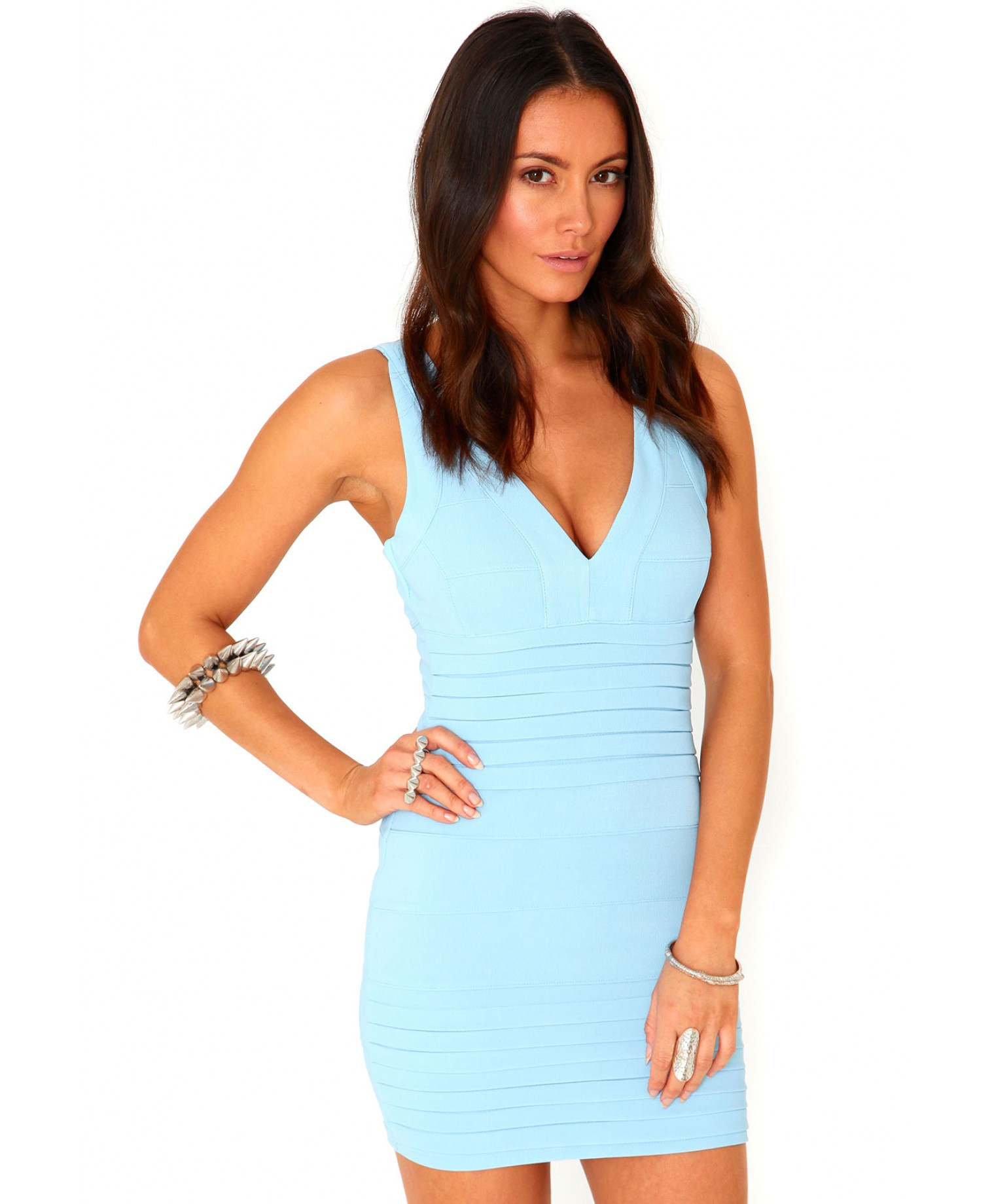 Missguided Leena Bandage Bodycon Dress In Baby Blue in