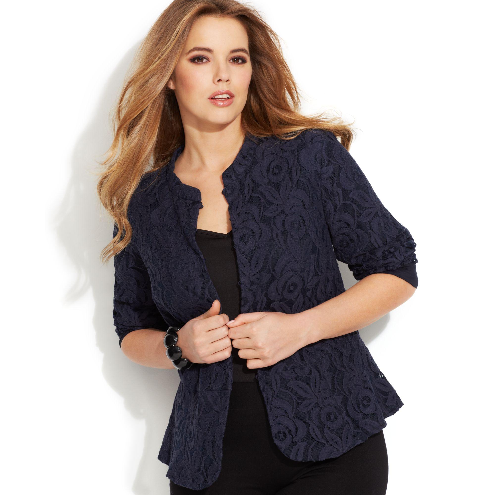 inc international concepts plus size lace peplum jacket in