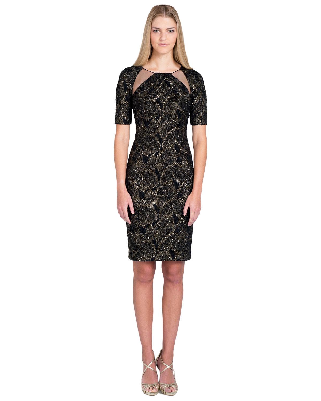 Black gold metallic dress