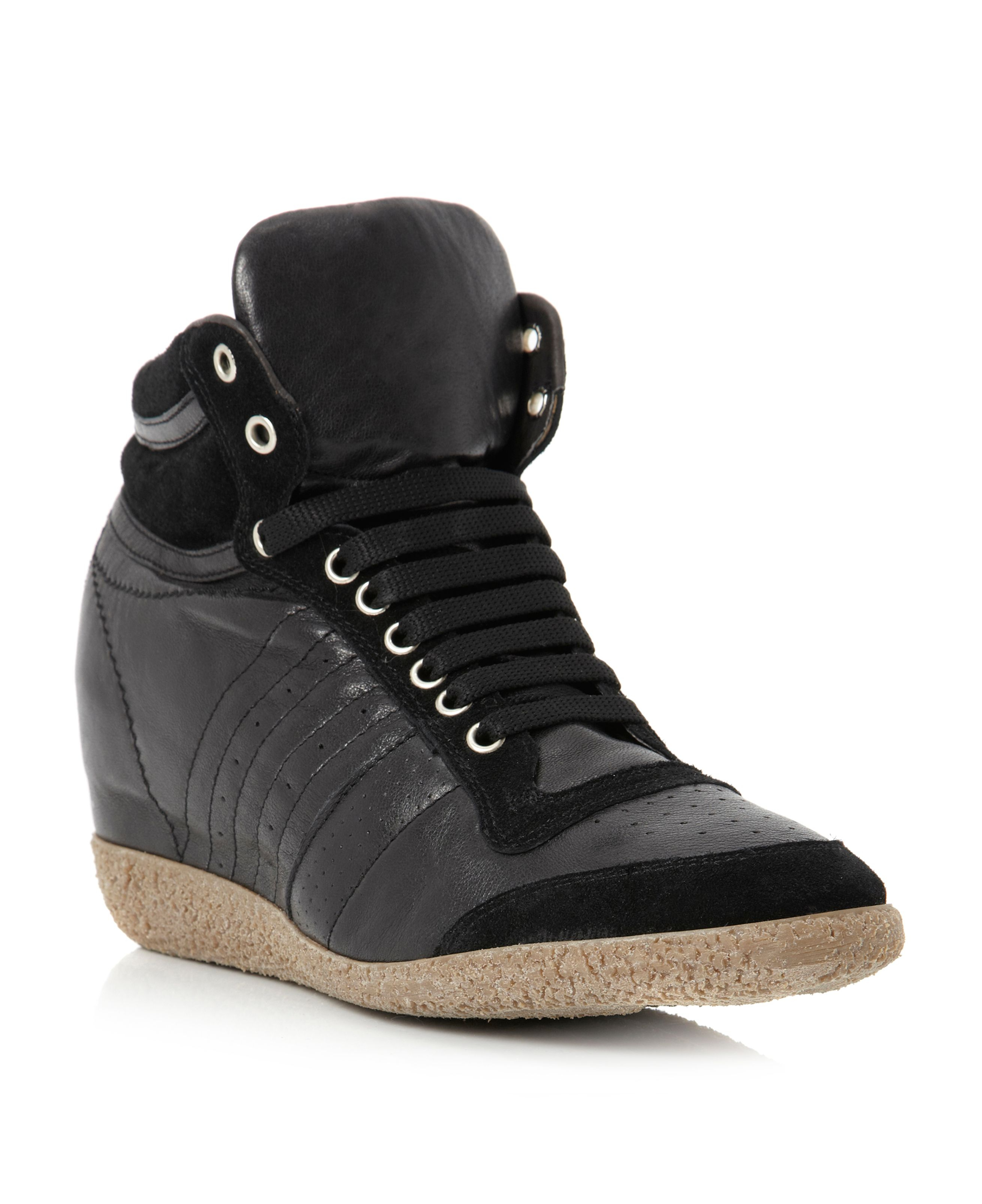 Pied A Terre Pagnol Lace Up Wedge Trainer Shoes In Black