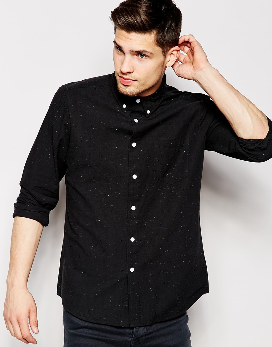 Lyst - Asos Oxford Shirt In Long Sleeve With Colored Nep in Black ...