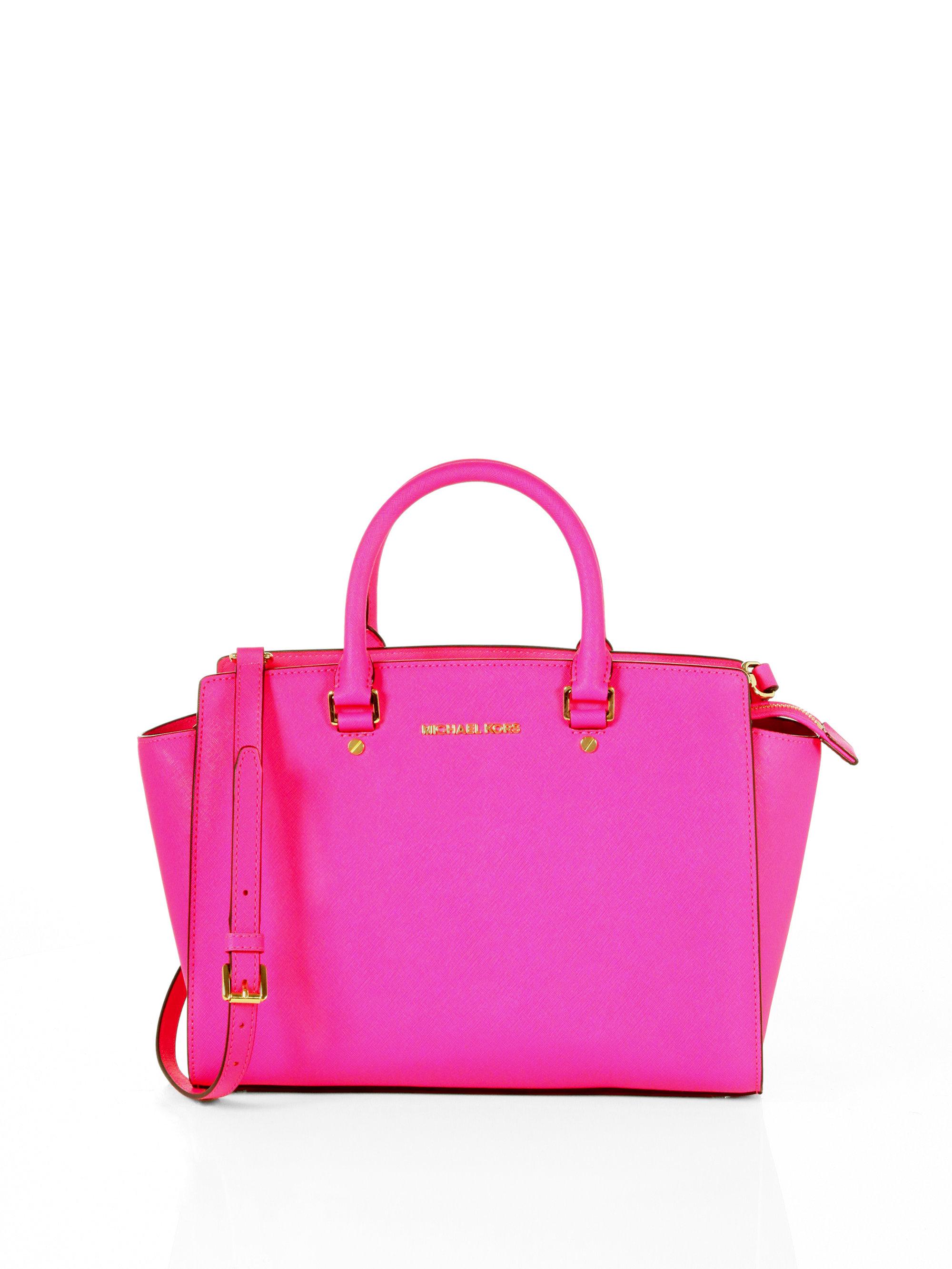 michael michael kors selma large satchel in pink neon. Black Bedroom Furniture Sets. Home Design Ideas