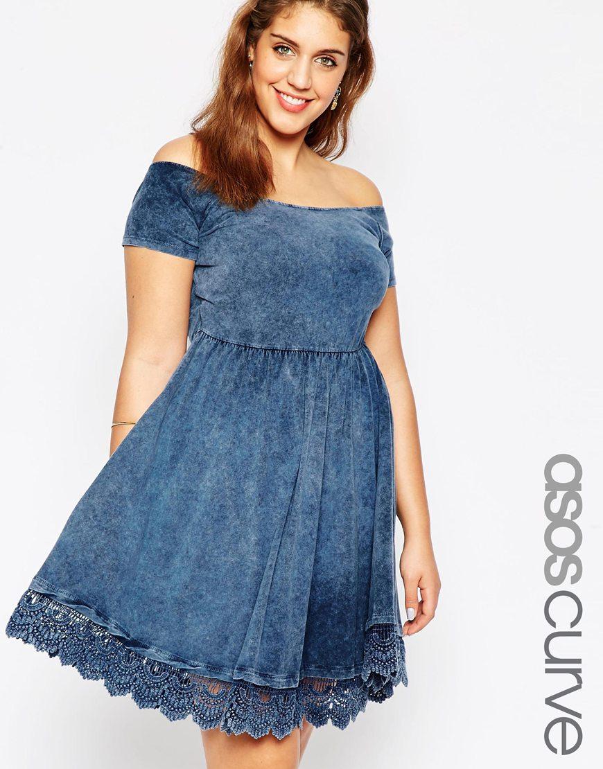 d76e0e66342c Lyst - ASOS Off Shoulder Skater Dress In Acid Wash With Lace Hem in Blue