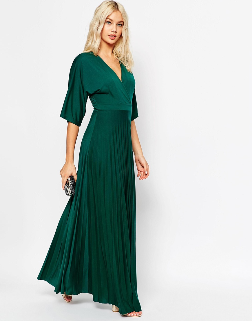f71d58f441f ASOS Maxi Dress With Pleated Hem And Kimono Sleeve in Green - Lyst