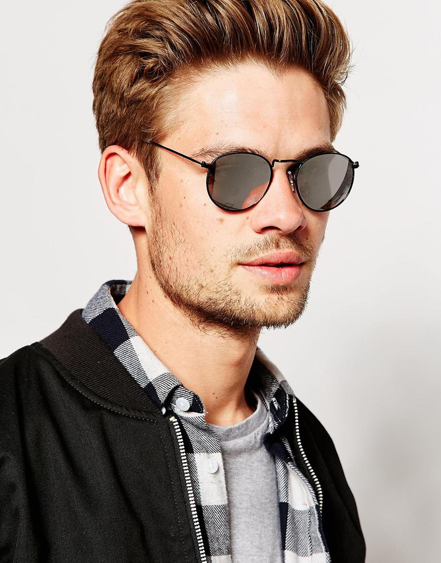 880802538cf Lyst - ASOS Round Sunglasses In Matt Black in Black for Men