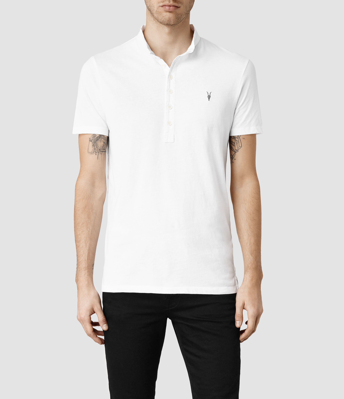 Allsaints Saints Polo Shirt In White For Men Lyst