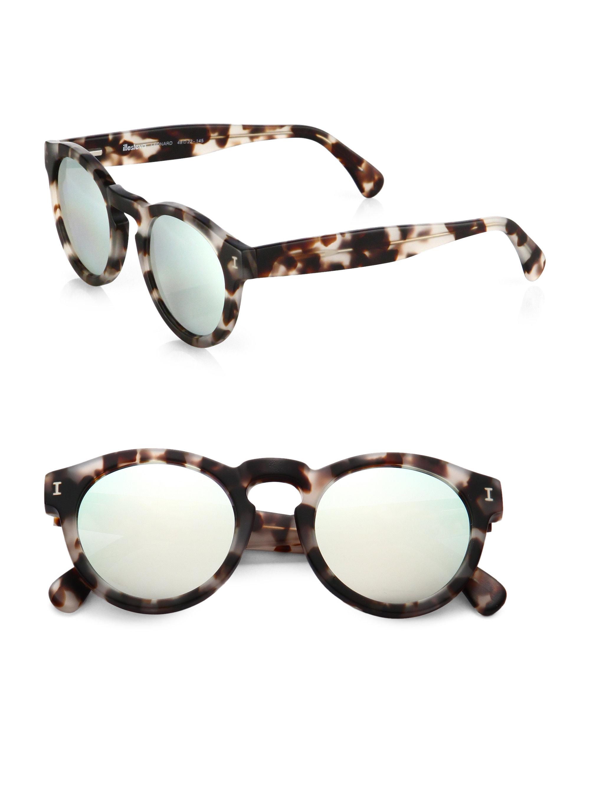Illevesta Sunglasses  illesteva leonard round mirrored 48mm sunglasses in brown lyst