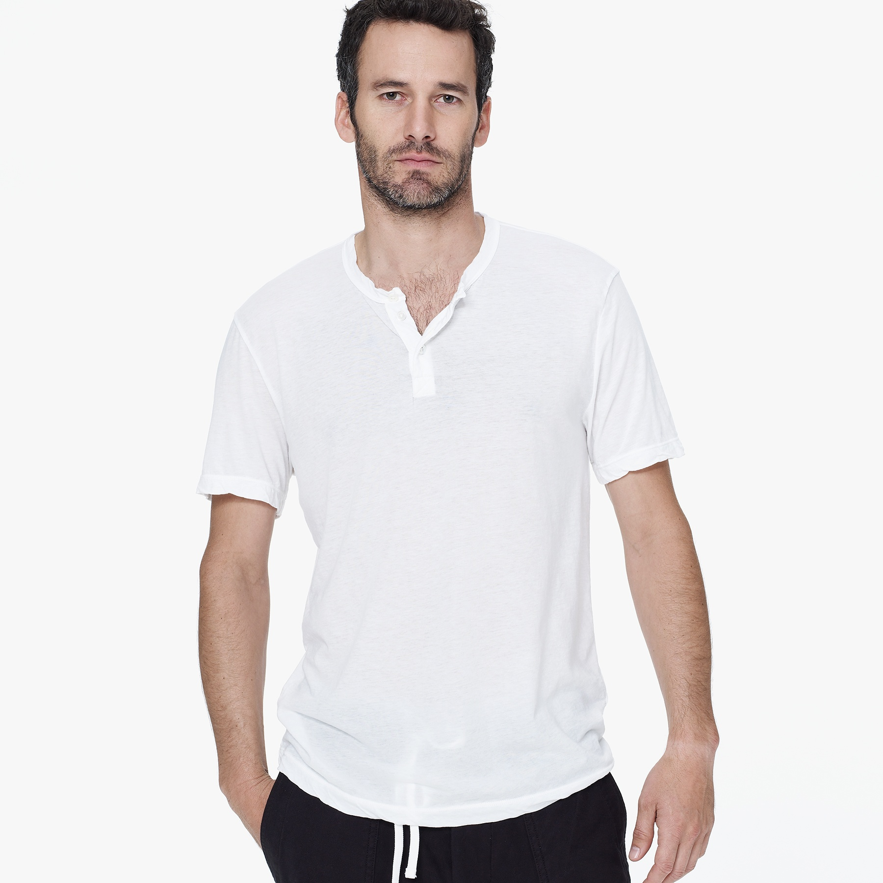 James perse cationic dyed melange henley in white for men for James perse henley shirt