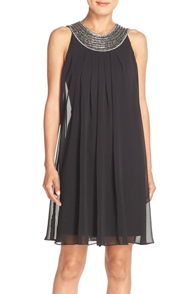 vince camuto embellished chiffon swing dress in black