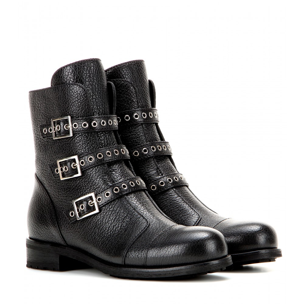 Jimmy choo Darkle Leather Biker Boots in Black | Lyst
