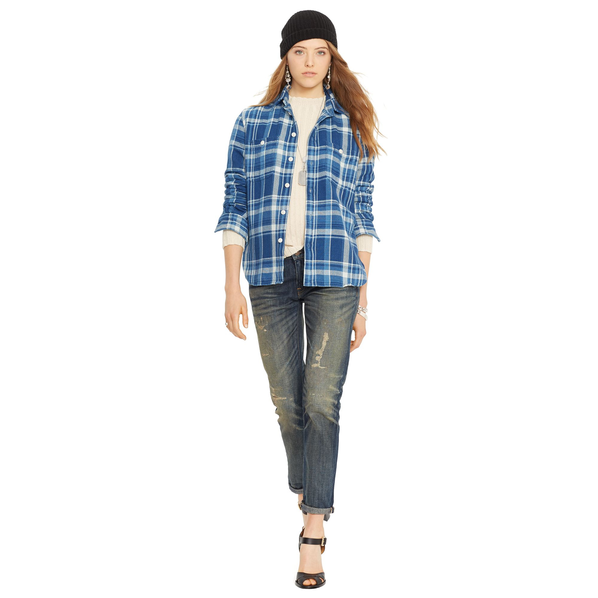 Polo ralph lauren Plaid Flannel Workshirt in Blue | Lyst
