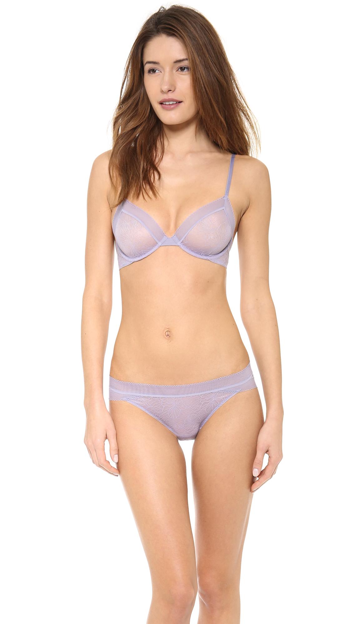6399e462970 Lyst - Calvin Klein Icon Lace Bare Underwire Bra - Spring Laurel in Blue