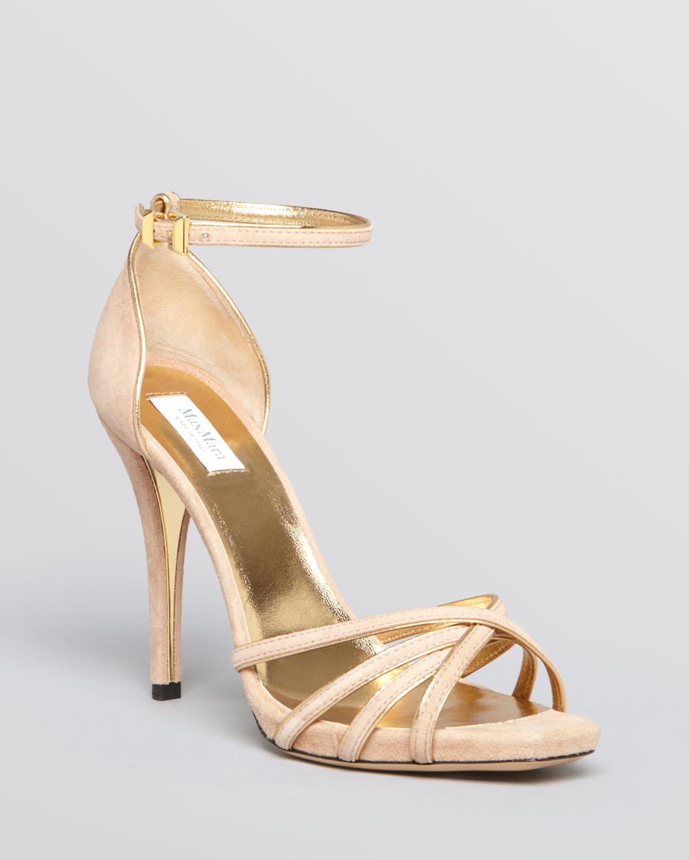 max mara platform sandals regina high heel in beige powder lyst. Black Bedroom Furniture Sets. Home Design Ideas