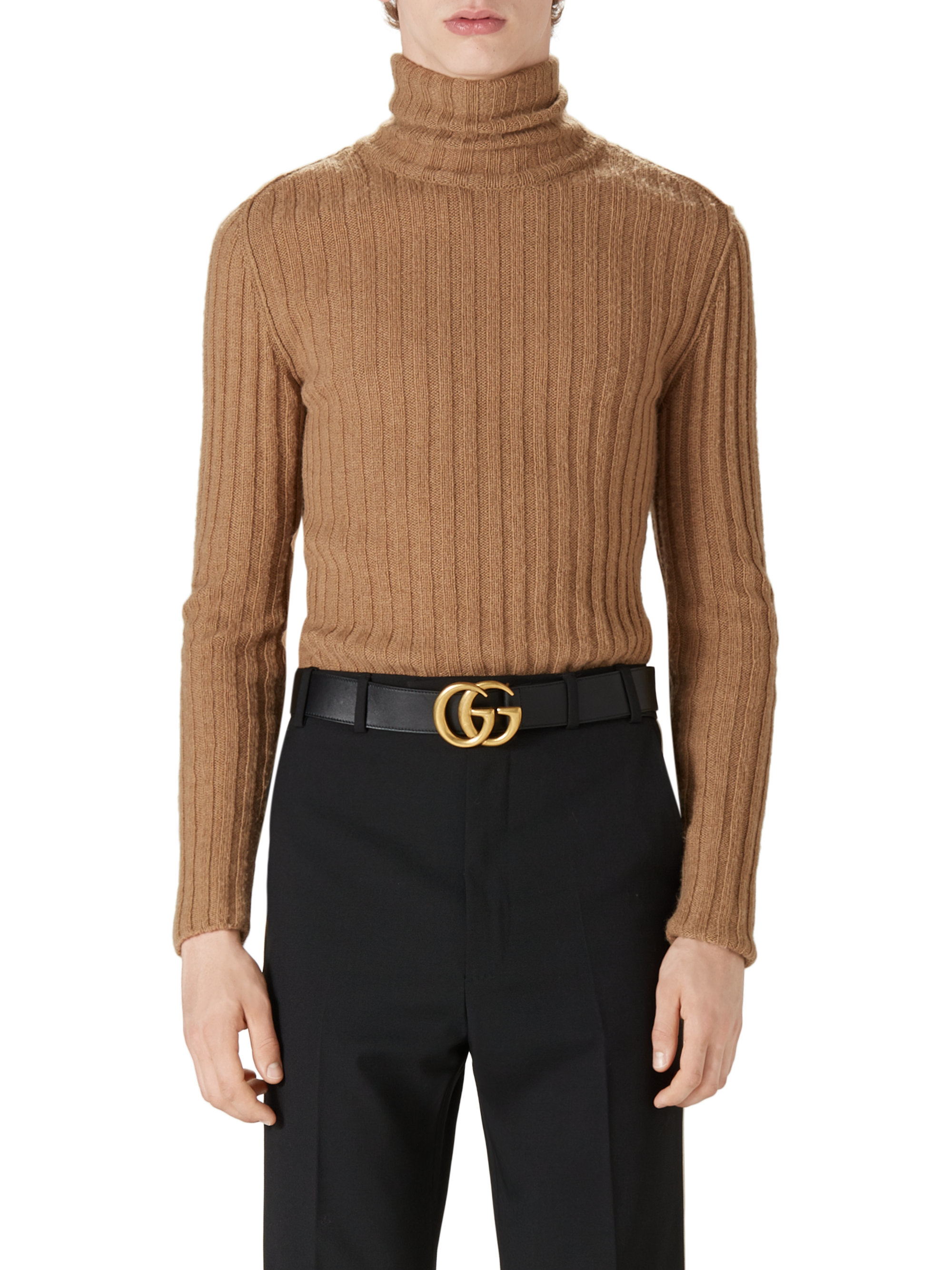 Lyst Gucci Camel Hair Ribbed Turtleneck Sweater In Natural For Men
