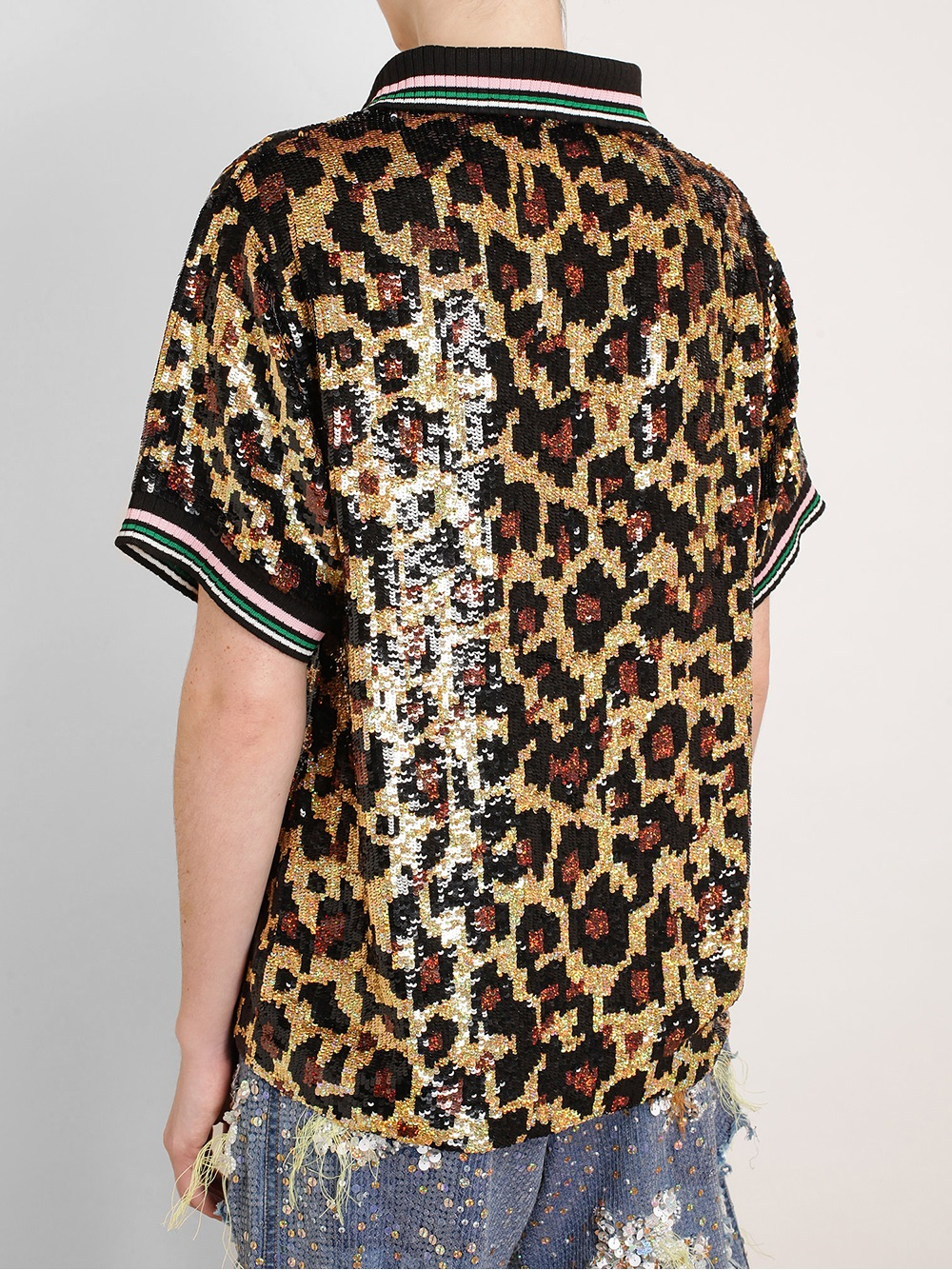 f7b4f2c3a34be Lyst - Ashish Leopard Sequin Polo Top in Brown