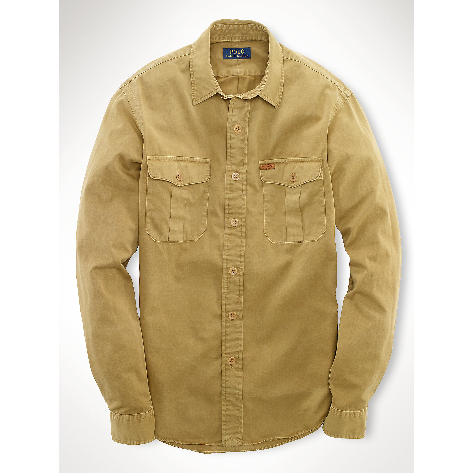Polo Ralph Lauren Chino Military Shirt In Brown For Men Lyst