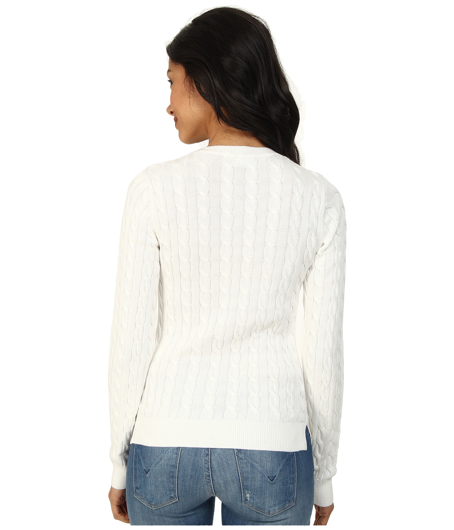 Lacoste Long Sleeve Cotton Cable Knit Sweater in White