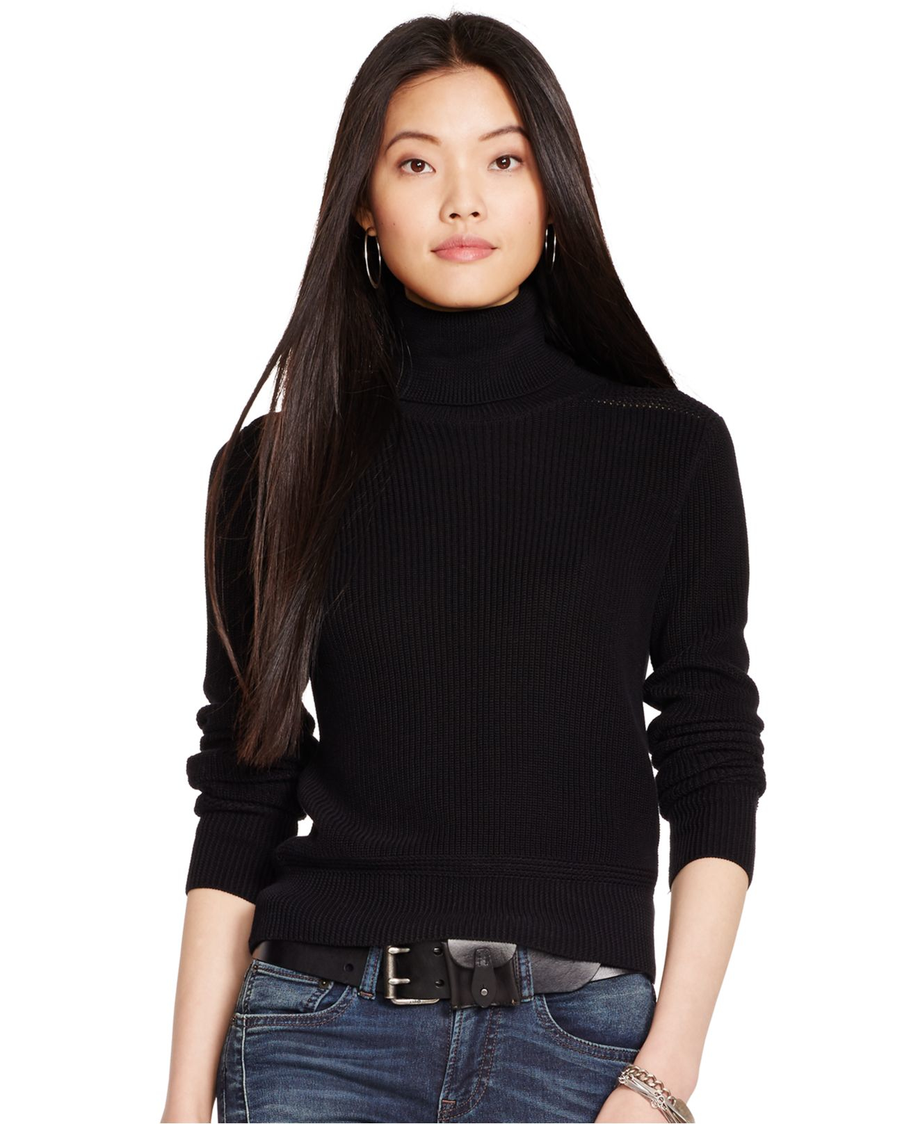Polo ralph lauren Cotton Turtleneck Sweater in Black | Lyst