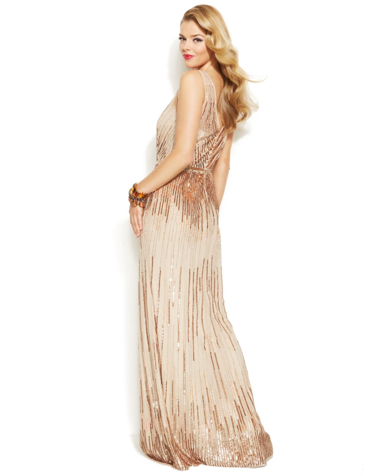Papell cap sleeve beaded sequined gown dresses women macy s - Gallery Adrianna Papell Sleeveless Sequin Illusion Gown