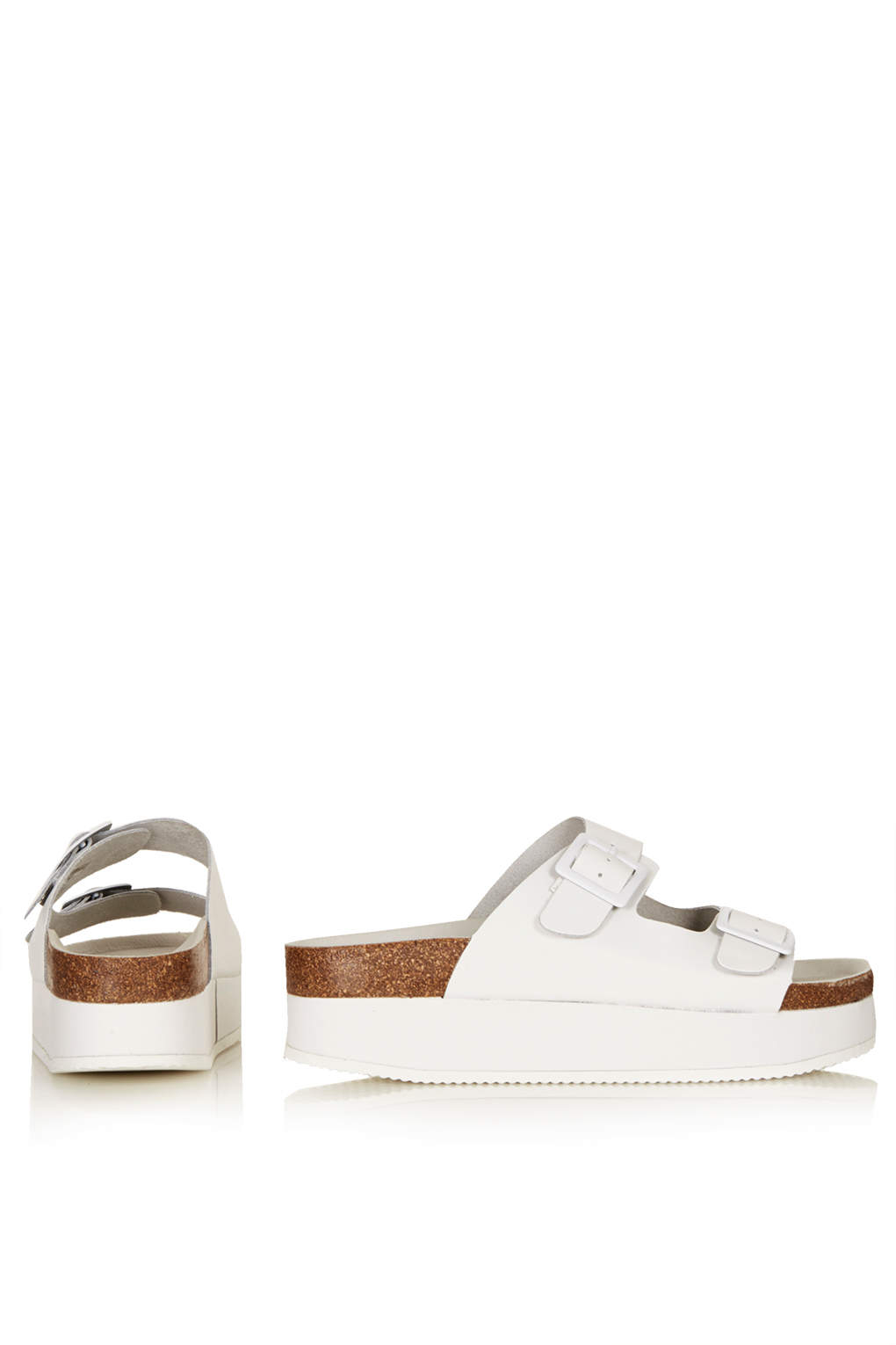 Lyst Topshop Fang Double Buckle Flatform Sandals In White