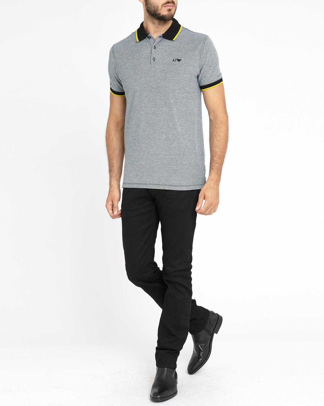 Armani jeans marled grey contrasting black yellow collar for Polo shirt and jeans