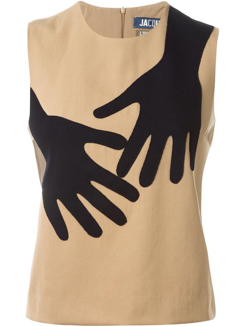 e095d216850b4 Lyst - Jacquemus Hands Front Appliqué Sleeveless Top in Blue