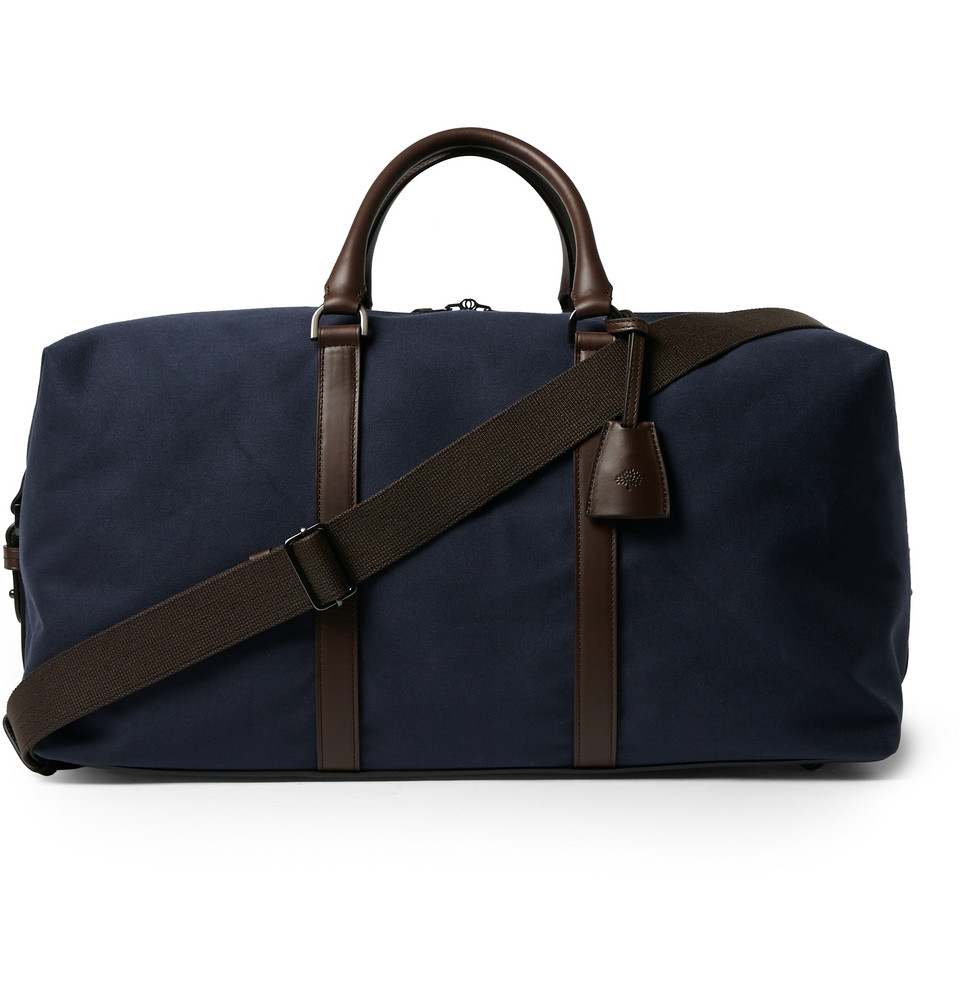 fc8e4b810b ... where can i buy lyst mulberry leather trimmed canvas clipper bag in blue  for men ed816