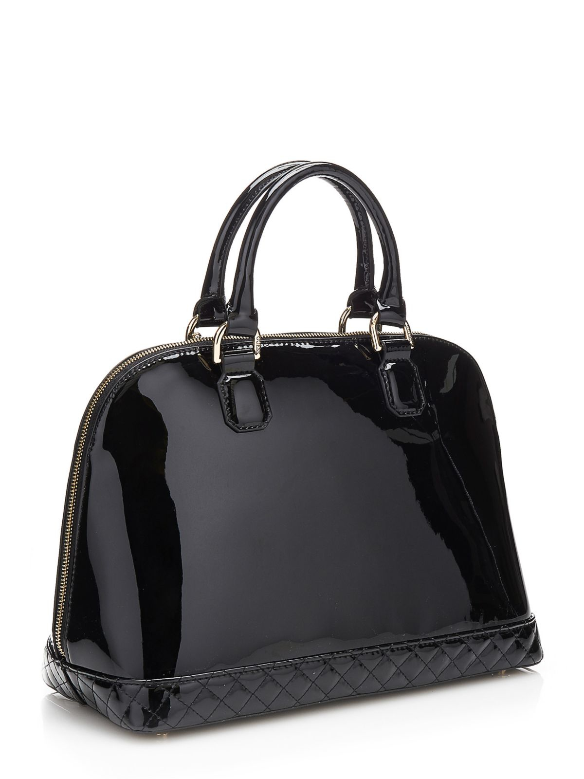 Guess Amy Shine Patent Look Satchel Bag In Black Lyst
