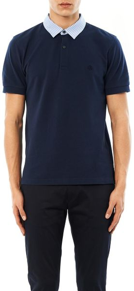 Brooks brothers contrast collar polo shirt in blue for men for Stiff collar polo shirt