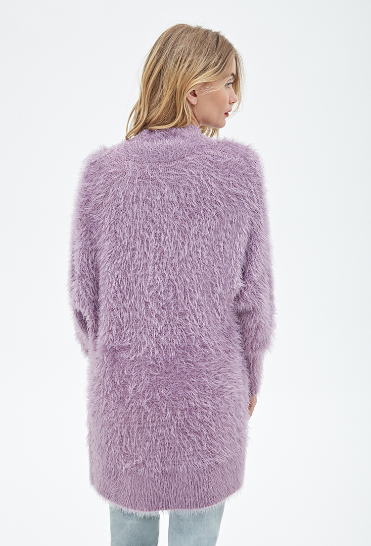 Forever 21 Contemporary Eyelash-knit Longline Cardigan in Purple ...