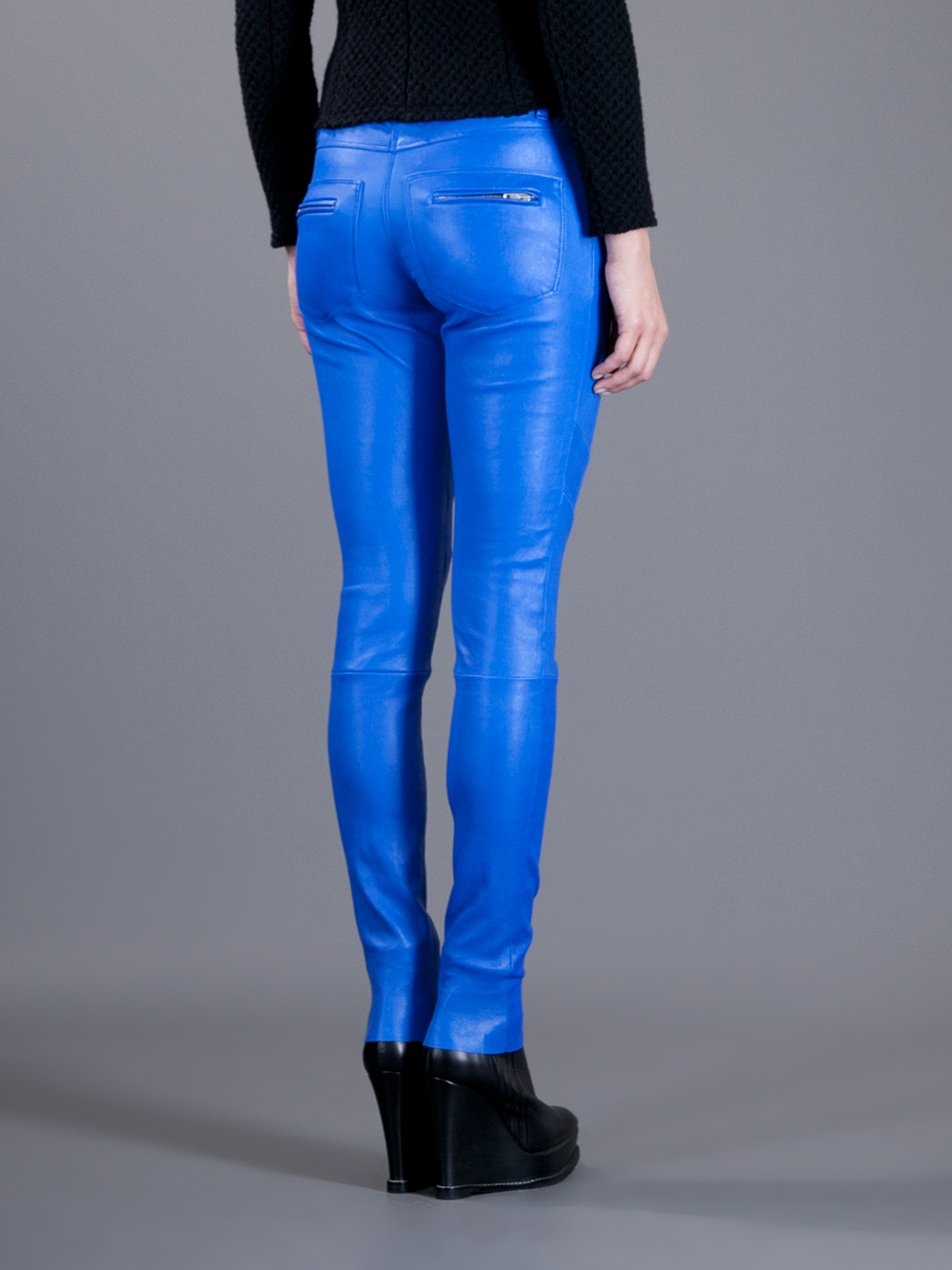 Lyst Iro Leather Trousers In Blue