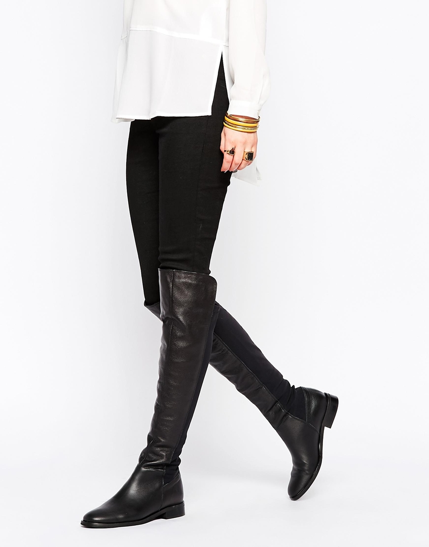 9f1cadd25f0 Lyst - Oasis Premium Over The Knee Flat Boots in Black