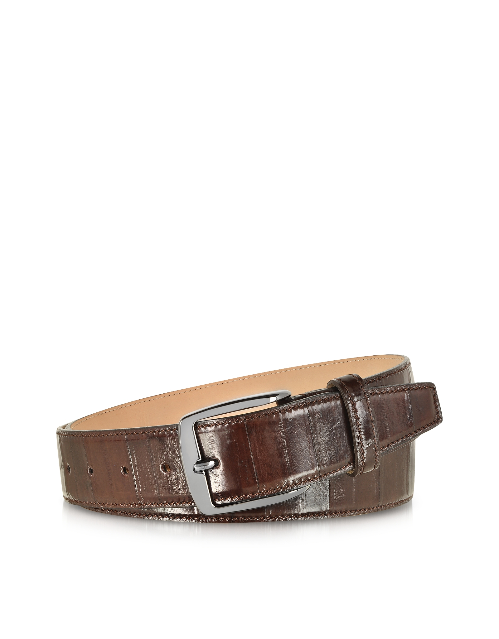 forzieri brown eel leather s belt in brown for lyst