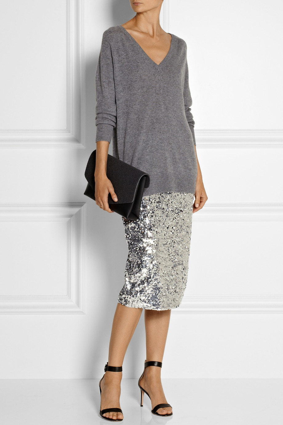 By Malene Birger Poliio Sequined Pencil Skirt In Metallic | Lyst