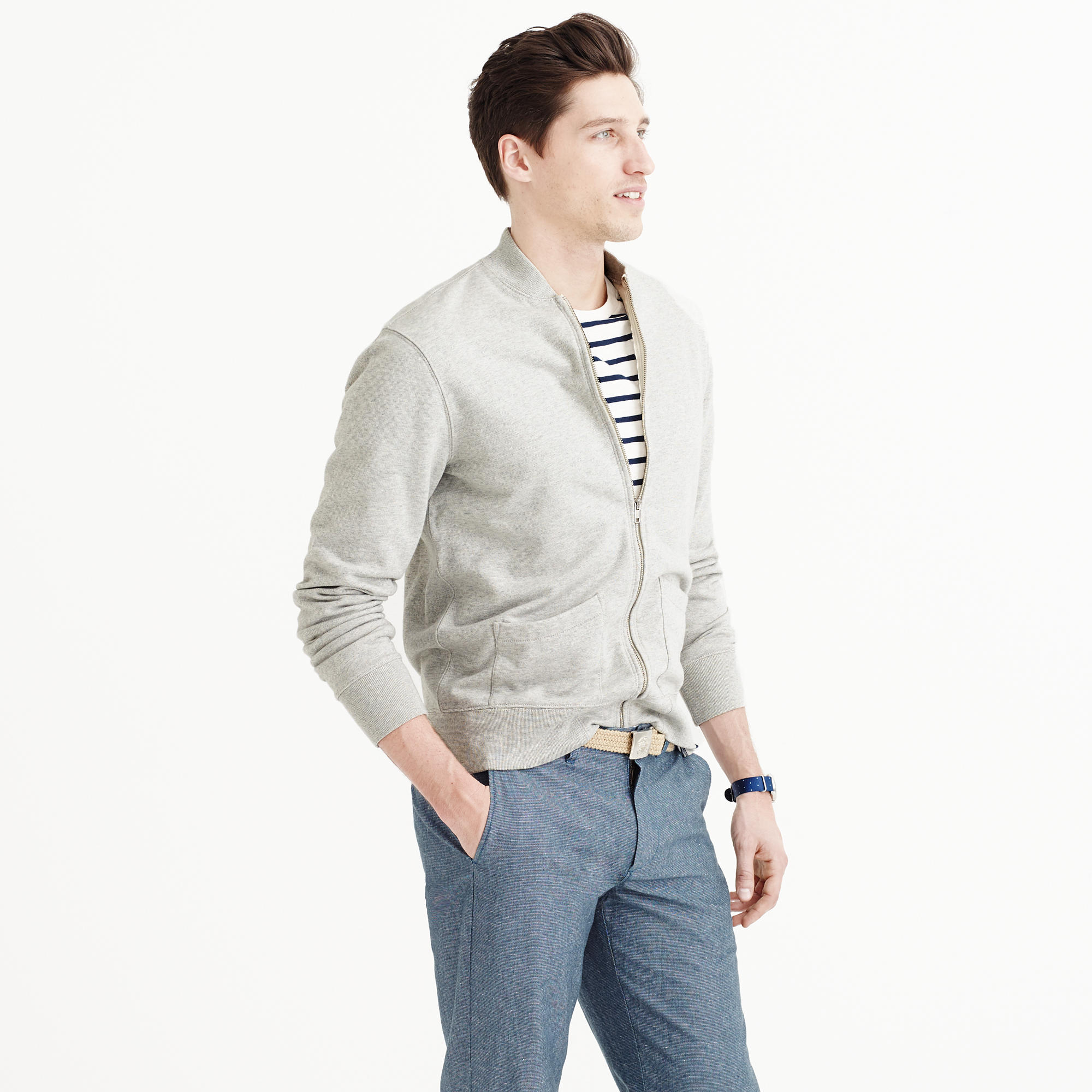 J.crew Wallace & Barnes Fleece Baseball Jacket in Gray for Men | Lyst