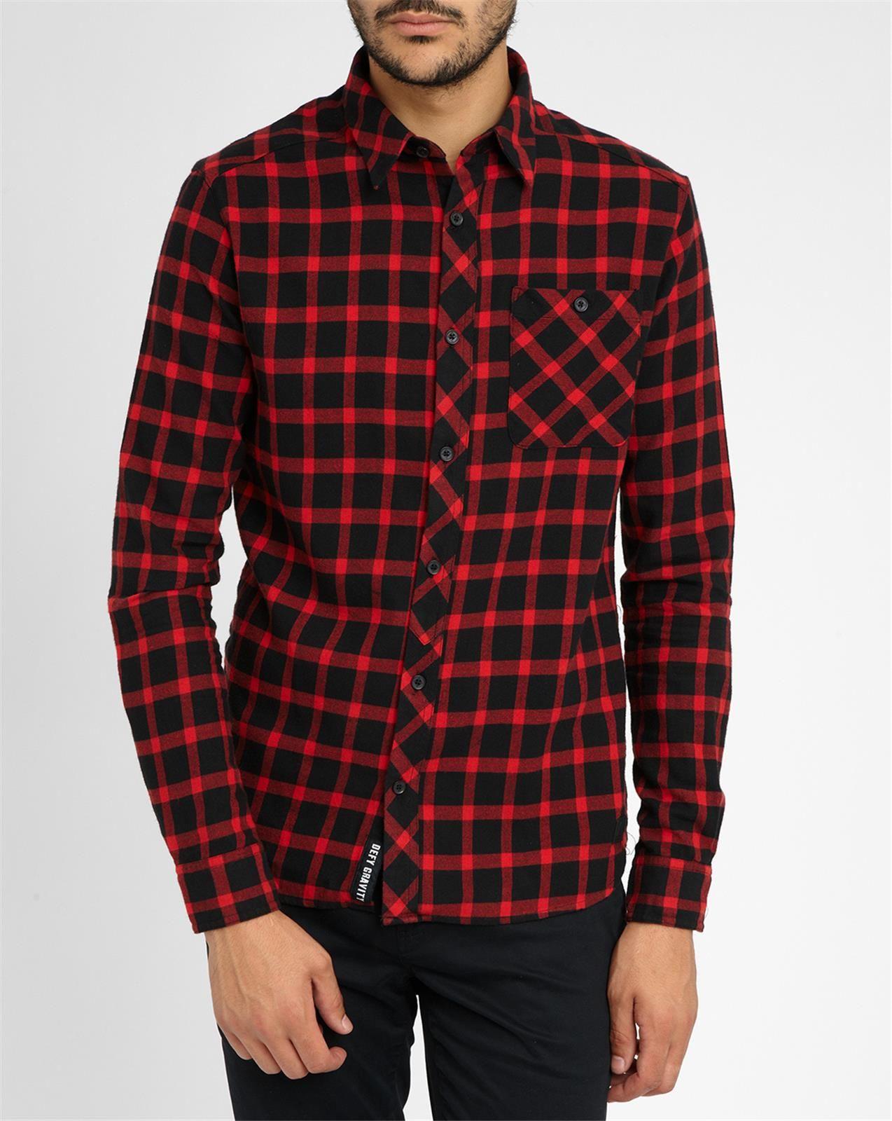 Eleven Paris Red Black Molok Plaid Flannel Shirt In Black