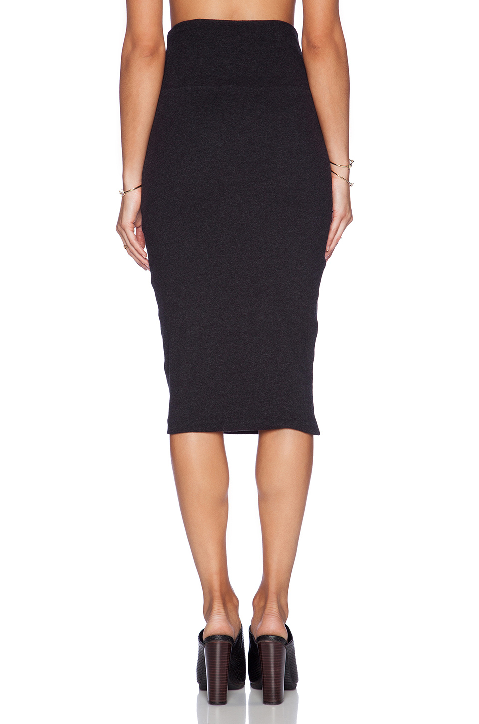 high waisted jersey skirt in black lyst