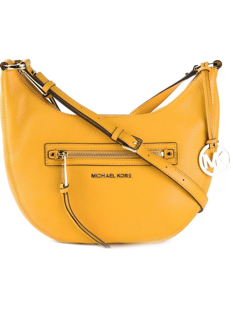 Lyst Michael Michael Kors Half Moon Shoulder Bag In Orange