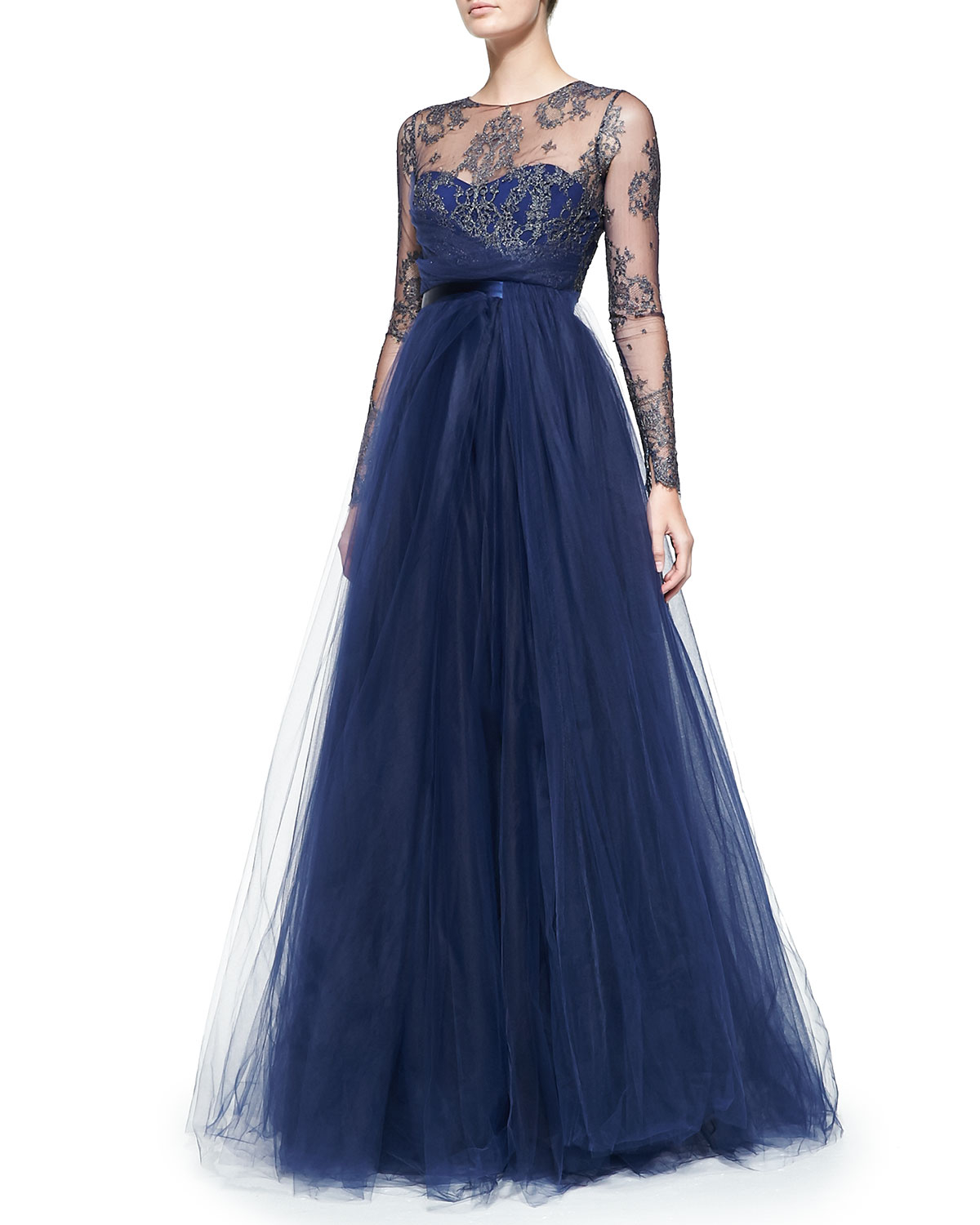 Notte By Marchesa Long Sleeve Illusion Full Skirt Gown In