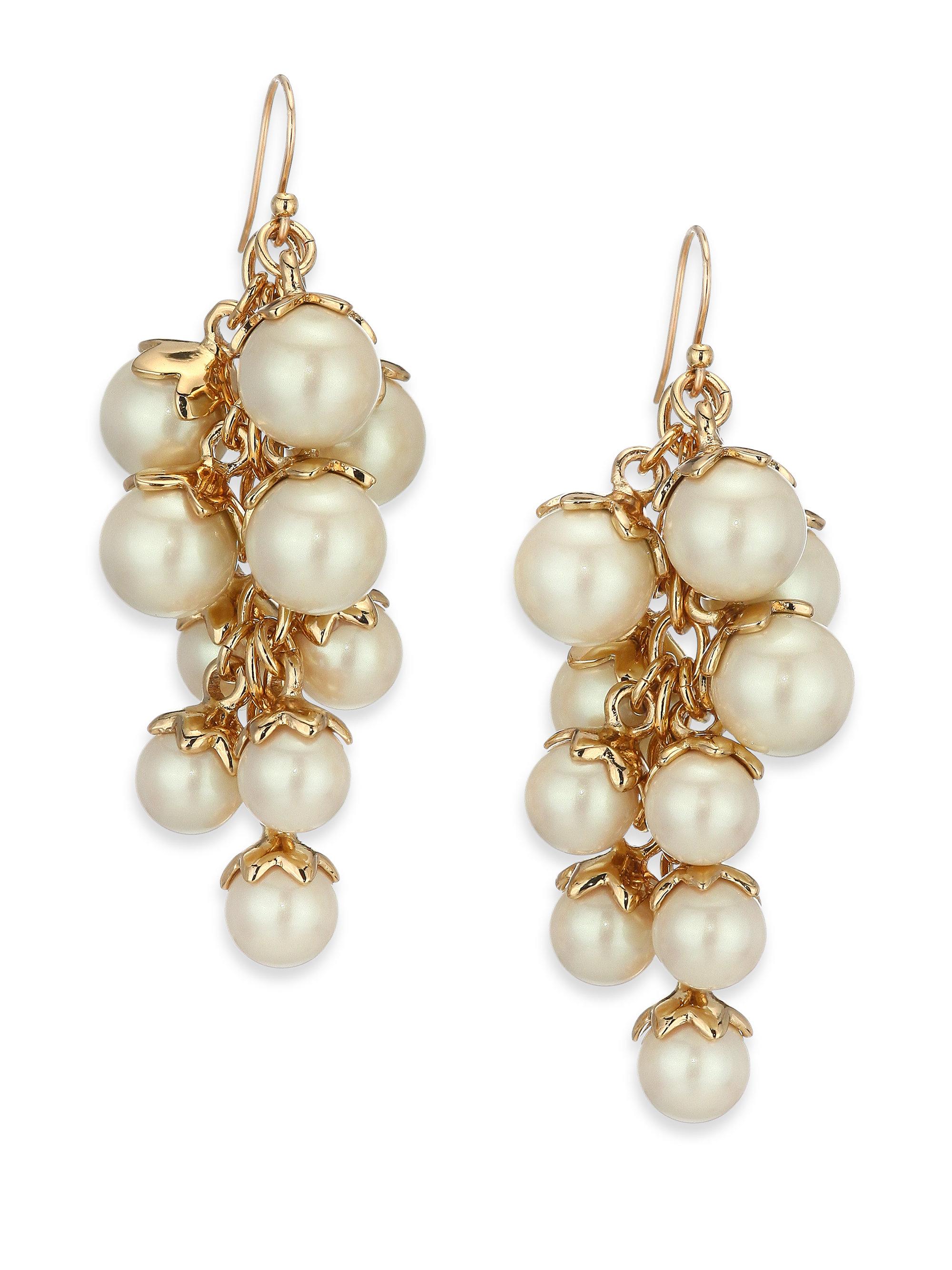 Lyst kate spade new york petaled faux pearl chandelier earrings in gallery aloadofball Image collections