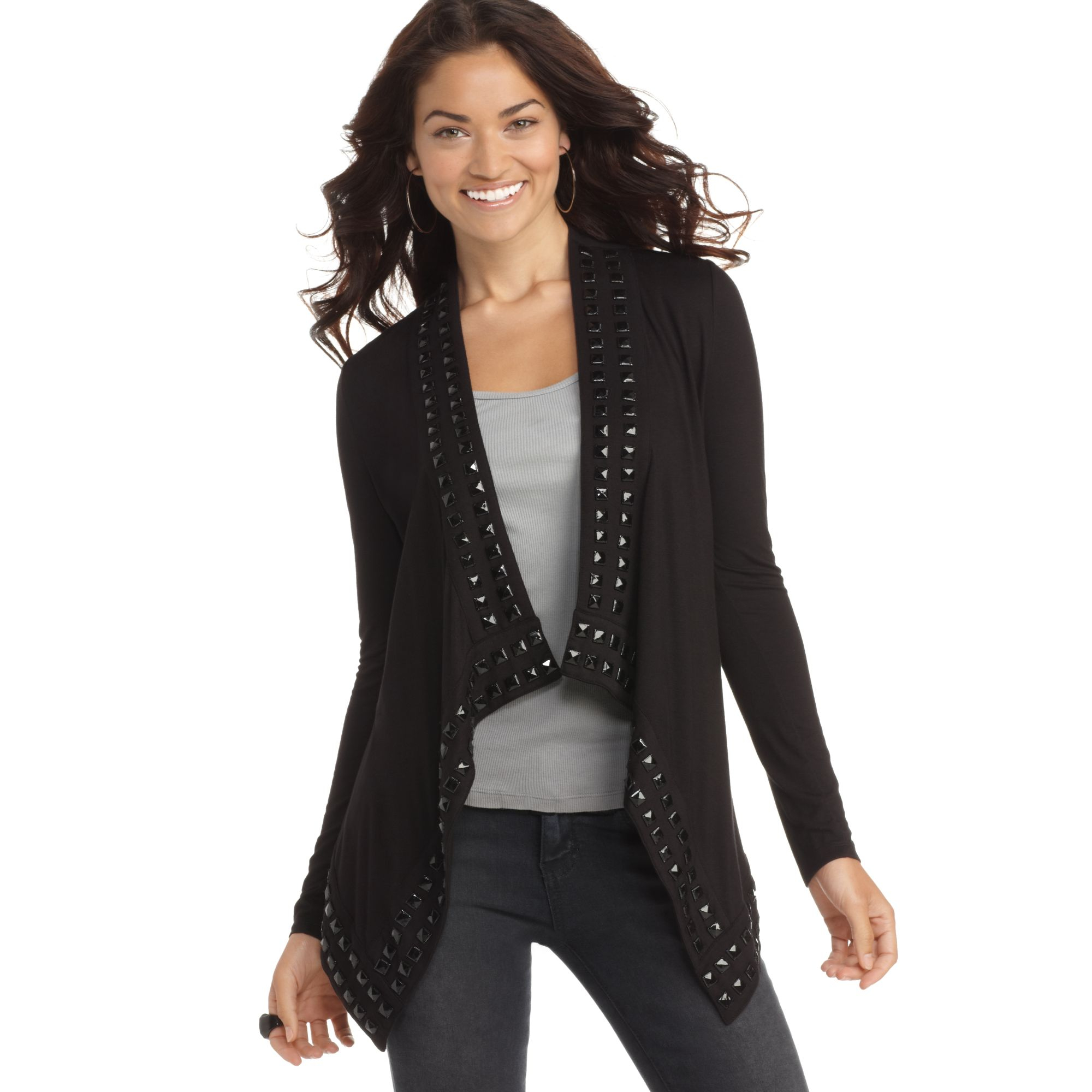 Room Designer App Guess Sweater Open Front Long Sleeve Studded Cardigan In