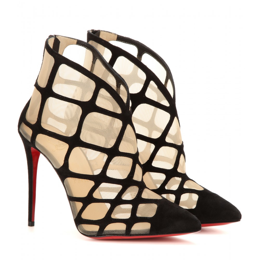 christian louboutin araknene suede and mesh ankle boots